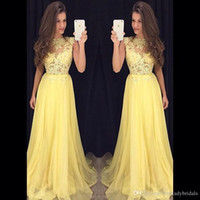 Wholesale White Fancy Tops - Prom Dress Long Yellow Lace 2016 Sheer High Neck Illusion Top Sexy Evening Gowns Chiffon Formal Fancy Special Occasions Dresses