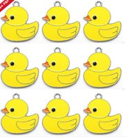 Novo 10 Pcs / Set Cartoon pato amarelo DIY Rhinestone colar colares A - 41