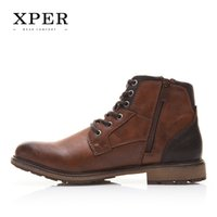 Wholesale wholesale men boots - XPER brand Fall Winter Men Shoes Vintage Style Male Boots Casual Fashion High-Cut Lace-up Warm Hombre #XHY12504BR