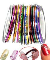 hübsche nagelaufkleber großhandel-1mm 10 mischfarbe hübsche aufkleber rollen streifen band linie für dekoration nail art 10 teile / satz pro los