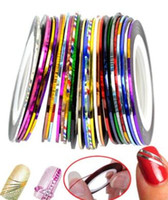 Wholesale Decoration Per Nail Art - 1mm 10 Mixed Color Pretty Sticker Rolls Striping Tape Line For Decoration Nail Art 10pcs set per lot