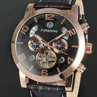 Wholesale Cakes False - sell like hot cakes! Men's FORSINING simple scale three false eye gold case five needle flywheel mechanical belt watch gift table