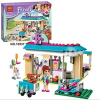 Wholesale Plastic Clinic - 203Pcs Friends Vet Clinic Princess Anna And Kristoff's Sleigh Model Set Building Blocks Friends Gifts Toys Princess