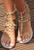 Wholesale cheap gold dress shoes - Zapatos Mujer Color Rivets Spiked Gladiator Flat Sandals Stones Studded Flip Sandal Big Size Designer Women's Cheap Shoes Summer