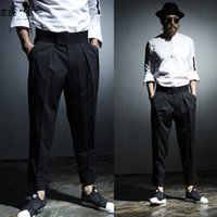 Wholesale Open Leg Pants - Wholesale- 2016 spring summer punk style Yuppie street wild Leg opening cuffs design pants men casual loose pants for men trousers,M-2XL