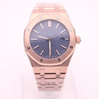 Wholesale high rise band online - High Quality Luxury Brand Royal Oak Series OR Series18K Rose Gold Band MM Blue Dial Transparent Back Cover Automatic Mechanical Watch