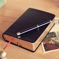 Wholesale Golden Books Wholesale - Wholesale- 1pcs lot Vintage Thick Notebook Bible Diary Book Black Retro PU Cover Golden Edge 320 Sheets ON004
