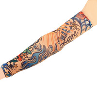 Wholesale Tattoo Sun Sleeves - Wholesale- 1pc Fake Tattoo Elastic Arm Sleeve Arm Stockings Sport Skins Sun Protective For Cool Men Women Hot Selling Style Random SPT0008