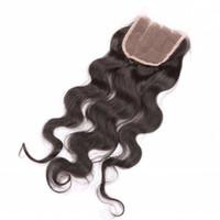 nudos de cierre del pelo de malasia al por mayor-Cierre 4x4 grado 10A brasileña Encaje nudos blanqueados brasileño de la Virgen del Perú Malasia Mongolia onda del cuerpo del cabello humano