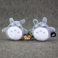 Wholesale Totoro Plush Wholesale - 9cm Two Styles Anime New Totoro Plush Toys Kawaii Totoro with Briquette&Totoro with Bus Soft Stuffed Plush Pendant Doll
