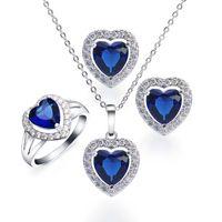 Wholesale Ocean Heart Jewelry Sets - Wedding Jewelry Set Heart Blue Sapphire Necklace Earrings Ring Size 7 Sterling Silver Ocean Genuine Charms Gifts BTZ000012