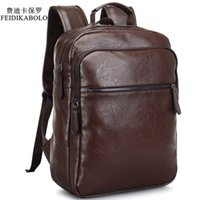 Wholesale Vintage School Backpack Laptop - 2017 Men Leather Backpack High Quality Youth Travel Rucksack School Book Bag Male Laptop Business bagpack mochila Shoulder Bag