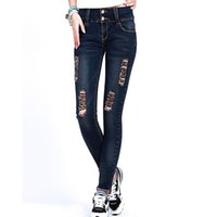 Wholesale Curling Vintage - Wholesale- Ripped Jeans for Women 2017 Good Quality Skinny Fashion Slim Jeans Pencil Pants Curling Pants Stretch All-match Denim Trousers