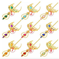 Wholesale magic wand accessories resale online - New Arrival gold Frozen Heart shape diamond cosplay Crown Tiaras Children Party Accessory Magic Wand Rhinestone Crown set