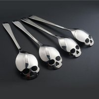 Wholesale Iced Coffee Wholesale - Stainless Coffee Spoon Skull Shape Dessert Spoon Food Grade Stainless Ice Cream Candy Tea Spoon 15.1*3.4*0.25cm
