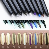 Wholesale Eye Shadow Smudger - Wholesale-1PC Waterproof Essential Long Lasting Colored Eyeshadow Eye Shadow Pen Pencil With Sponge Smudger 8 Colors to Choose