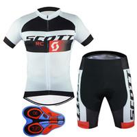 scott cycling bibs jersey toptan satış-Açık Bisiklet 2017 Yeni Scott Kısa Kollu Bisiklet Formaları 9D Jel Yastıklı Önlük şort set Yaz Tarzı Mtb Maillot Ciclismo F2401