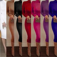 Wholesale Turtle Neck Blue Green - 9Color New Autumn Women Dress Winter Turtleneck Dresses Slim Sexy Long Sleeve Midi Dress Wear To Nightclub Bandage Dresses Top Quality