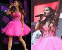 Wholesale Ariana Grande Dresses - 2016 New Pink Ariana Grande Homecoming Dresses 2017 Crystal Beading Tulle Sweetheart Backless Lace-Up Short Party Gowns Cheap Prom Dress