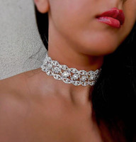 Wholesale White Lager - Lager Rhinestone Choker Bridal Celebrity Trendy Choker Necklace Collier Wedding Jewelry Gold Silver