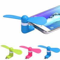 ventilador de refrigeração usb venda por atacado-Mini Ventilador Micro USB por Smartphone Celular Poder Ventilador Do Telefone Móvel Cool Cooler Para Android ou iPhone Dobre Fã
