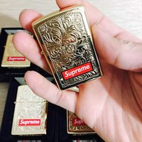 Wholesale engraving brass - ZIPPO 14FW Engraved Brass box logo Carved lighters Gold lighter