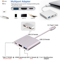 Wholesale Usb Port Macbook - USB 3.1 Type-C to HDMI USB-C Digital Multiport Adapter 4K Female 2 Port USB 3.0 HUB & USB-C OTG Charger for Macbook