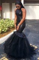 Wholesale Spring Dress Models For Girls - Mermaid Sequins Prom Dresses 2017 Special Occasion Long Sexy Cheap Tulle Hater for African Black Skin Girls