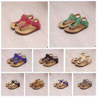 Wholesale antiskid shoes - Kids Summer Cork Sandles Flip-flops Sandals Beach Antiskid Slippers Kids Shoe PU Slipper Casual Cool Slippers Sandalias 10 color KKA1627