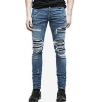Wholesale Denim Pants Wholesale - Wholesale- 2017 Aakar shan Men's Jeans Summer Ripped Skinny Biker Jeans Destroyed Frayed Slim Fit Denim Pants Pencil Pants Regular Fashion