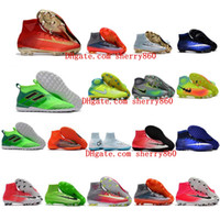 Wholesale New Indoor Shoes - 2018 kid indoor soccer shoes IC TF mercurial superfly kids football boots cr7 high top men soccer cleats futsal boys magista obra ace 17 new