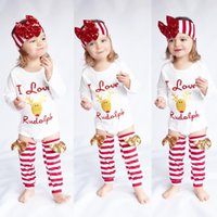 Wholesale Long Infant Socks - Baby Girls Christmas Sets Children Clothes Rudolph Letters Sequin Rompers + bow Headband + Socks Babies Outfits Infant clothing White A7289