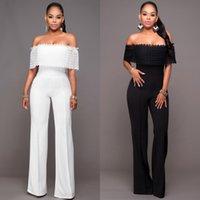 Wholesale Casual Strapless Black Jumpsuit - Off the Shoulder High Waist Strapless Nylon Lace Jumpsuit Hot Sale Jumpsuit