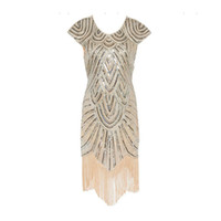 Wholesale Short Dress Fringes - Fashion Vintage Flapper Great Gatsby Dress Cap Sleeve Sequin Fringe Party Midi Dress 2017 Summer Women casual dress