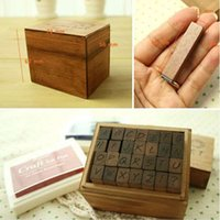Wholesale Rubber Stamps Sets For Kids - Wholesale- ANTIQUE Alphabet STAMP Handwriting UPPER capital+ Wooden Box Symbols Rubber Stamp Gift For Kids 28pcs set,flexible letters stamp