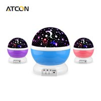 Wholesale rotating night light projector - Wholesale- Dream Rotating Projection lamp Romantic LED Night light Sky Moon Star Master Projector USB 5V Decor Kids Baby Sleep lighting