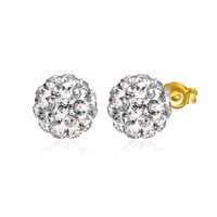 Wholesale Wholesale Gold Disco Ball - High quality Gold Plated Shambala Ball Stud Earrings Diamond Crystal disco beads Earings fine Jewelry for women girls LKNSBE178-A