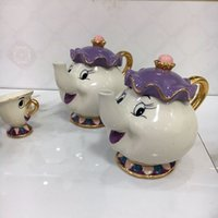 Wholesale Pot Cups - 100% Official New Style Cartoon Beauty and the Beast Teapot Mug Mrs Potts Chip Tea Pot Cup 2PCS One Set for Collection
