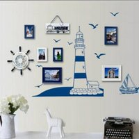 Wholesale Seagulls Wall - Blue Ocean Lighthouse Wall Stickers Seagull Photo Frame DIY Bedroom Living Room Wall Stickers for Home Decoration