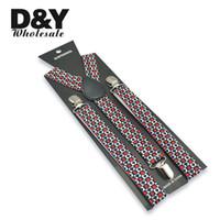 suspensórios de chaves unisex venda por atacado-Atacado-2.5cm de largura Homens Mulheres Unisex Poker Playing Cards Design Clip-on Elastic Suspensórios Suspender Y- back Suspenders and Bowties Set