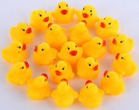 Wholesale Mini Rubber Bath Toys - Brand New Free Shipping 5000pcs lot Baby Bath Water Toy toys Sounds Mini Yellow Rubber Ducks Kids Bathe Children Swiming Beach Gifts