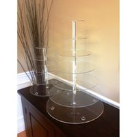 Wholesale Acrylic Cup Cake Stand - Clear acrylic 7 tiers wedding cake stand lucite upcake Stand Tree Tower Cup Cake Display Dessert Tower