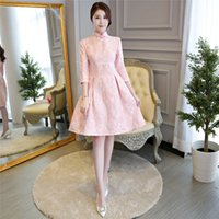 Wholesale Chinese Ladies Dresses - Shanghai Story 3 4 Sleeve Chinese Traditional Clothing For Ladies Stand Collar Elegant Chinese Women's Qipao Dress
