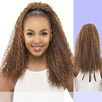 1PC 24inch 140g Cabelo Humano Long Curly Wavy Ribbon Drawstring Clip Remy Ponytail natural Hair Extension Hairpieces Humanos