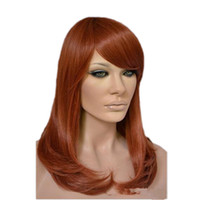 Wholesale Synthetic Wigs Medium Length - WoodFestival medium length wig auburn heat resistant synthetic hair wigs for women short curly wig with oblique bangs fiber