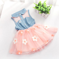 Wholesale Chiffon Grown - Beautiful Infant Baby Girls Kids Princess Dress Denim Vest Tulle Skirt Tutu Dress Pink White Childeren Chiffon Floral Bow Ball Grown