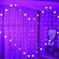 Wholesale Wholesale Heart Shaped Plugs - Wholesale- 1.5x1.4m 128led 34 Hearts Shape LED String Light Holiday Christmas wedding decoration lamp led icicle Curtain lamp EU UK US Plug