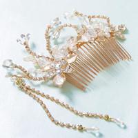 Wholesale Wedding Hair Comb Pearl Diamante - Women Headwear Bridal Hair Accessories Crystal Glass Diamante Wedding Hair Jewelry Rhinestone Pearl Flower Hair Combs For Brides Headband