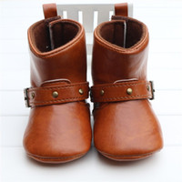 Wholesale Wholesale Babies Cowboy Boots - Wholesale- Brown Baby Classic Cowboy Boots PU Buckle Soft Soled Baby Girl Winter Boots Infant Toddler Winter Shoes First Walkers Zapatos