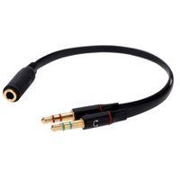 разъем для наушников y кабель оптовых-Черный 3.5 мм y Splitter 2 Jack мужчин и женщин наушники микрофон AUX аудио кабель-адаптер для наушников мобильного телефона
